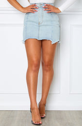 Losing My Way Mini Skirt Light Blue