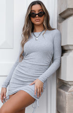 Sweet Salvation Long Sleeve Ribbed Mini Dress Grey