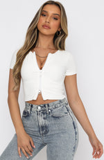 Hidden Affection Zip Front Crop White