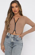 Made It Big Long Sleeve Zip Front Ribbed Crop Mocha