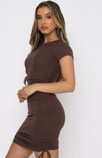 Weekend Dreaming Ribbed Mini Dress Chocolate