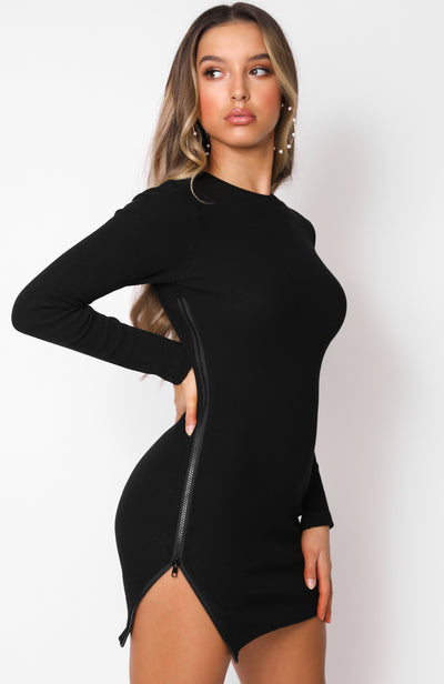 Race Against Time Long Sleeve Mini Dress Black