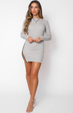 Race Against Time Long Sleeve Mini Dress Grey Marle
