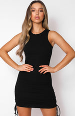 Play It Loud Drawstring Mini Dress Black
