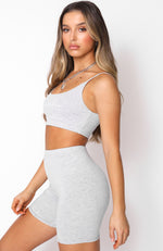 No Sweat Crop Light Grey Marle