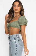 Easy Days Crop Dusty Khaki
