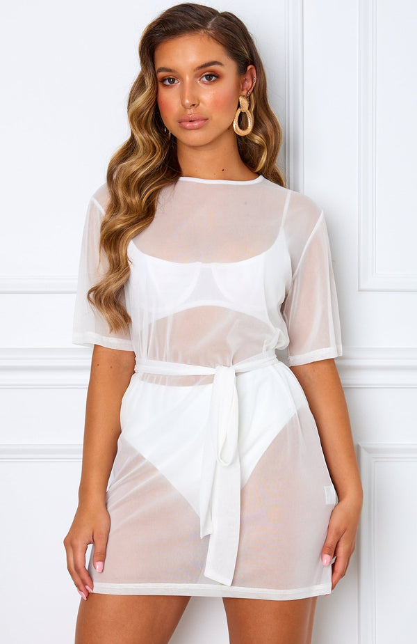 Down For That Mesh Dress White