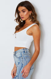 Cleo Ribbed Crop White