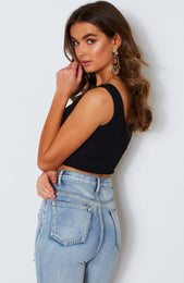 Cleo Ribbed Crop Black