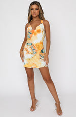 Beauty Moment Mini Dress Orange Tie Dye