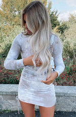 Sweet Salvation Long Sleeve Ribbed Mini Dress Mocha Tie Dye