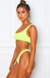 Palm Springs Bikini Top Neon Yellow Rib