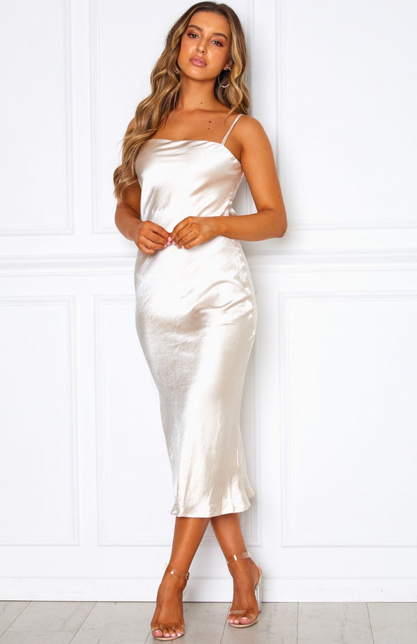 Midsummer Madness Midi Dress Champagne