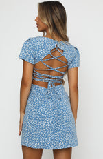 Water Lily Lace Up Open Back Mini Dress Blue Print