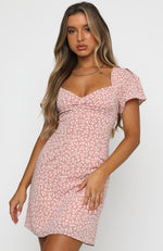 Water Lily Lace Up Open Back Mini Dress Pink Print