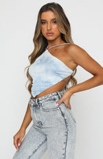 Front Woman Crop Sky Blue