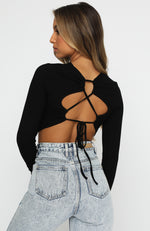 Sitting Pretty Long Sleeve Crop Black