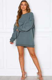 Going Rogue Sweater Dress Petrol
