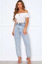 Gemini Off Shoulder Crop White