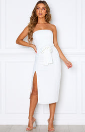 Hardest Part Midi Dress White