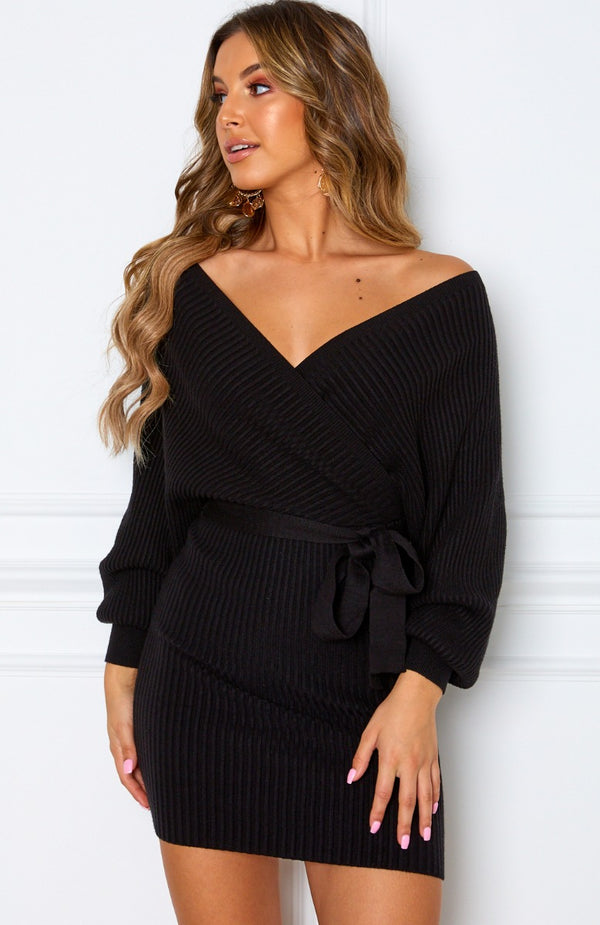 Wanna Bet Knit Dress Black
