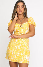Like A Vision Mini Dress Yellow Print