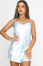 Balmy Nights Mini Dress Blue Tie Dye