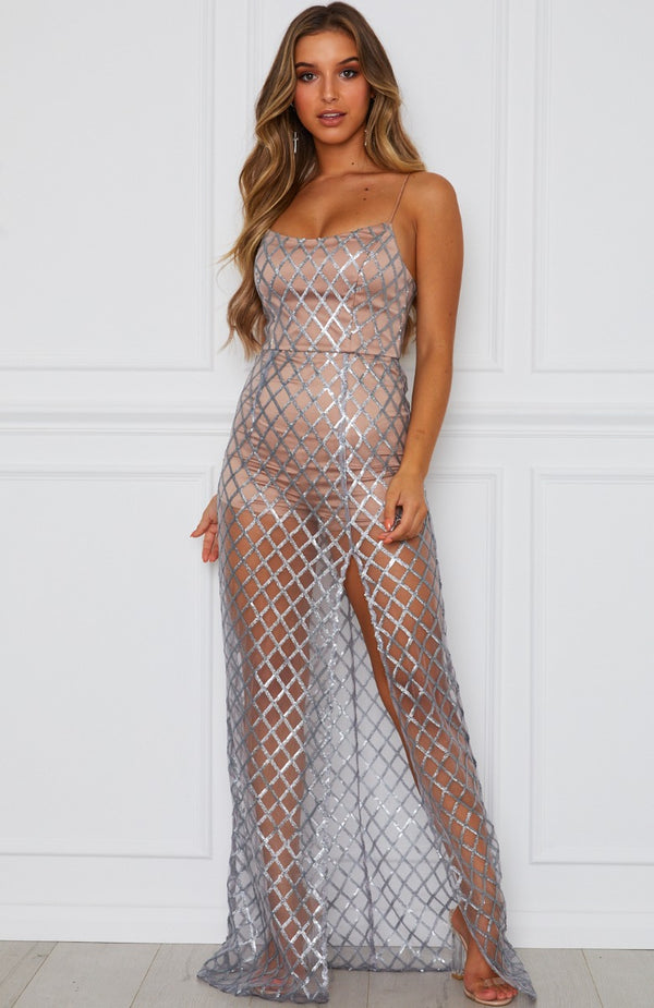 Eternal Nights Maxi Dress Silver