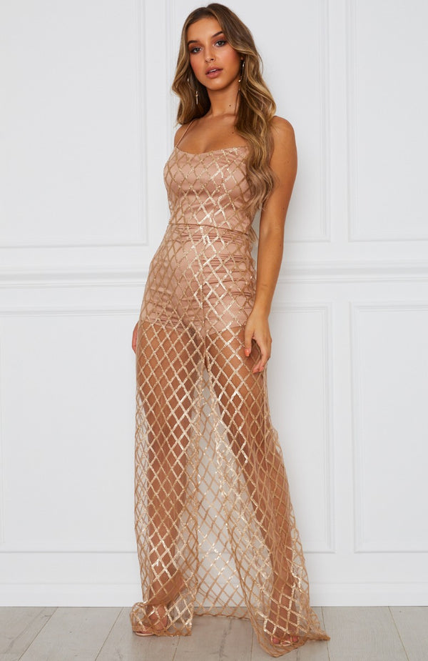 Eternal Nights Maxi Dress Gold