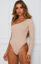 All Talk One Shoulder Bodysuit Nude