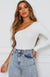 All Talk One Shoulder Bodysuit White