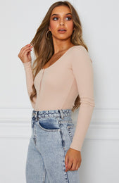 Take A Chance Long Sleeve Bodysuit Nude