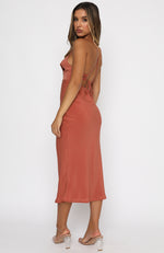 Walk The Line Midi Dress Rust