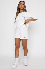 Self Love Club Relaxed Waffle Shorts White