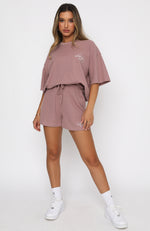 Self Love Club Relaxed Waffle Shorts Mauve
