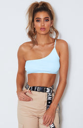 Cher One Shoulder Crop Baby Blue