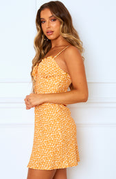 First In Line Mini Dress Orange Print