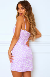 Something Real Mini Dress Lilac Print