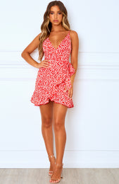 Yacht Club Mini Dress Red Print