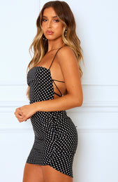 Heart's Content Mini Dress Black Polka Dot