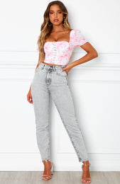 Real Talk Crop Pink Floral