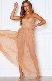 Casino Royale Mesh Maxi Dress Nude