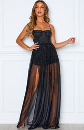 Casino Royale Mesh Maxi Dress Black
