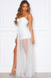 Totally Bangin' Mesh Maxi White/Silver
