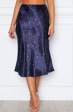 Bottomless Brunch Midi Skirt Navy Floral