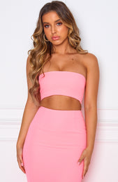 Save The Date Crop Neon Pink