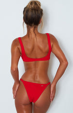 Palm Springs Bikini Top Red Rib