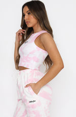 Game Of Love Crop Pink Tie Dye