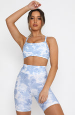 Don't Sweat It Sports Bra Blue Tie Dye