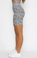 Don't Go Back Bike Shorts White Leopard